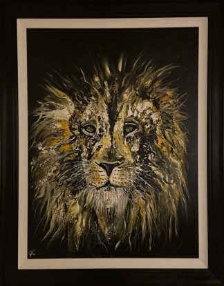 Original abstract painting of a lion. Stunning art in a high quality wooden frame, ready to hang in any room in your home
