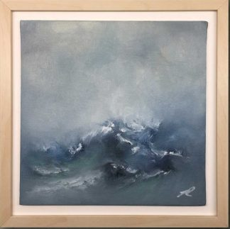 Counting the Waves Original, abstract seascape painting. Oil on board.25cm x 25cm. Art is framed and ready to hang. FREE shipping