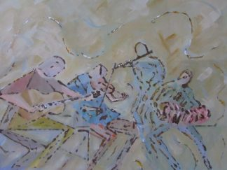 Floggin the reel Original abstract figurative art. A painting of a typical trad night at the local. Ideal gift idea for music lovers. Irish art, Irish artist