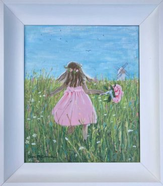 Original painting. A flower girl runs through a field. Painting by Irish artist. Browse a large selection of art for sale here