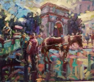 Landscape painting of Stephens Green by Irish artist Norman Teeling. Online Gallery with a large selection of Irish art for sale