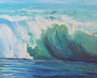 Original seascape painting by Irish artist. Atlantic Green Wave is a stunning piece of art to suit any room in your home