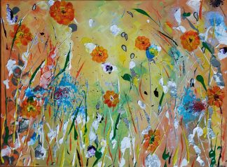 Original abstract floral art for sale by artist Justyna Szerszen. Brighten up your home with a painting of flowers to suit any room
