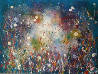 Original abstract floral painting for sale in online gallery by artist Justyna Szerszen. Browse a large selection of art here