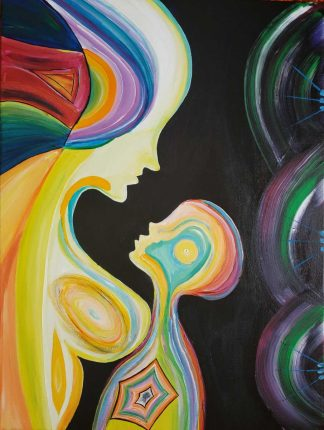 Original abstract painting for sale of a mother and child. Stunning art, great gift idea for new parents after birth