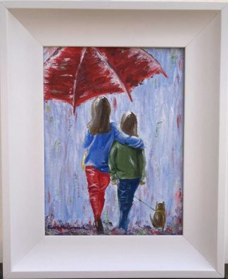 Friends Original painting for sale of two friends under an umbrella. Gift ideas for friends, sisters, loved ones etc. Irish artist