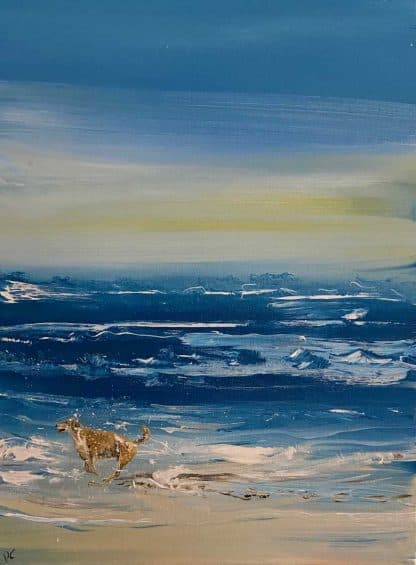 Oneness Original painting of a dog a at the sea. Stunning quality art for your home or a superb gift idea for a a sea and animal lover