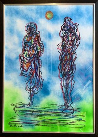 Together Forever Abstract Figurative painting by Irish artist Kevin Sharkey.
