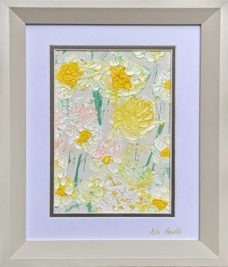 Original abstract floral art for sale in online gallery. Beautiful painting to suit any room in your home.