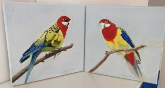 Original painting of two birds. Wall art for any room in your home or a great gift idea. Browse a large selection of art here
