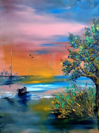 Original sunset landscape painting for sale in online gallery. Stunning quality art for any room in your home