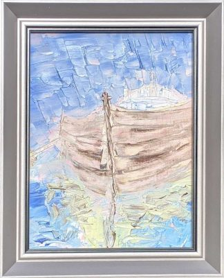 Original painting of a boat at sea. Art for your home framed and ready to hang. Browse a large selection of art here