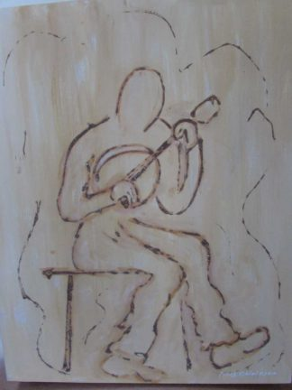 The Lonesome strummer Original abstract figurative art. A painting of a typical trad night at the local. Ideal gift idea for music lovers. Irish art, Irish artist