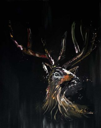 Willow Original abstract painting of a deer/ stag by Irish artist Paul Crozier. Art for your home, gift ideas, homemade Irish art