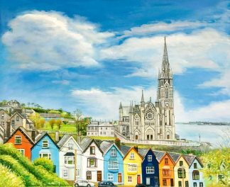 Original Irish architectural, landscape painting for sale in online gallery by Irish artist. Painting of Cobh, Co.Cork