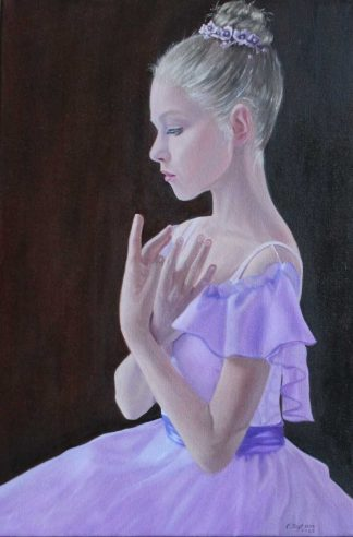 Stunning oil painting of a ballerina in a lilac dress. Exceptional quality art for your home, original art in online gallery