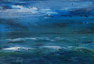 Original seascape painting for sale. Stunning blue tones in the painting. Art for sale in online gallery by Irish artist