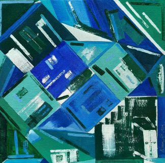 Original abstract architectural painting for sale. Bright blue coloured art for your home. Gift ideas for family and friends
