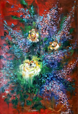 Best Wishes Original floral abstract painting for sale in online gallery. Browse a large selection of art for your home or gift ideas