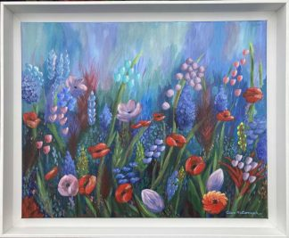Beautiful floral painting for sale in online gallery by Irish artist. Original art for your home or a stunning gift idea