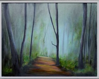 A walkway through a shaded forest. Original oil painting by James Rooney. Framed in light grey and ready to hang