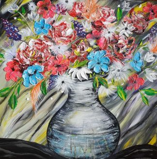 Large floral painting for sale in online gallery, Stunning original art full of life, depth an colour. Suit any room in your home