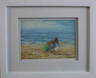Original painting of two friends at the beach. Wall art for your home for sale in online gallery by Irish artist. Gift ideas for family