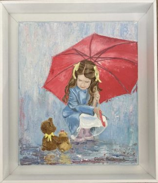 Original painting of a girl beneath an umbrella with two teddies. Beautiful painting that would make a great gift idea