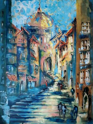 Stunning piece of street scene/ architectural painting by artist Jelena Straiziene. Exceptional piece of original art for your home