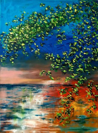 Sunset Glare Original abstract sunset seascape painting for sale in online gallery. Stunning quality art for your home to last a lifetime