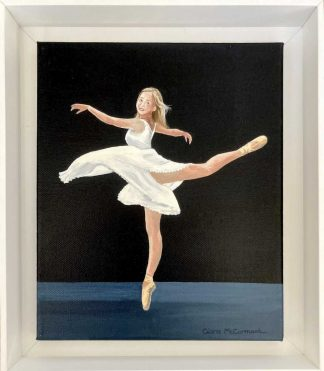 Original painting of a ballerina in a white dress. Art is framed and ready to hang. Beautiful art for your home