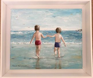 Summer is here! Original painting of two boys at the beach. Art framed and ready to hang. Browse a large selection of Irish art here