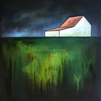 An abstract painting depicting an isolated farmhouse in a remote, rural setting. Ready to hang, stunning art for your home