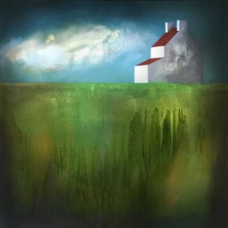 An abstract painting depicting an isolated farmhouse in a remote, rural setting. Ready to hang. Art for your home. Gift ideas