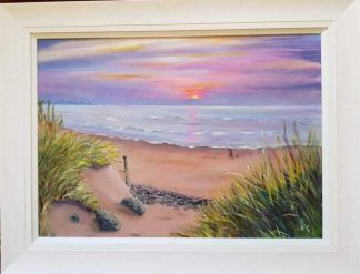 Original sunset over the sea painting for sale in online gallery by Irish artist. Stunning art for your home or a great gift idea