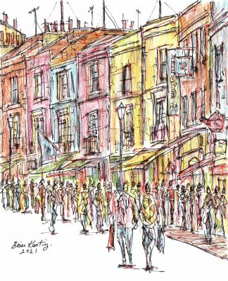 Original London street scene painting by Irish artist. Abstract architectural drawing of Notting Hill. Art for your home, gift ideas