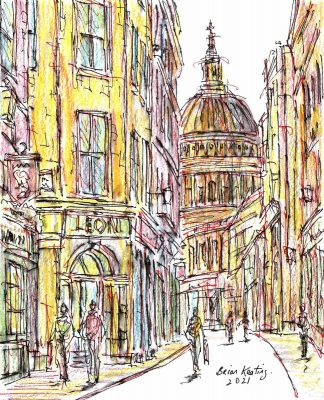 Original painting of street scene in London. Wonderfully coloured art for your home or great gift idea for any occasion