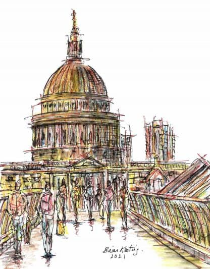 Original London street scene painting by Irish artist. Abstract architectural drawing of Millennium Bridge. Art for your home, gift ideas