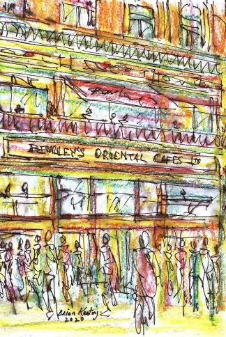 Original ink drawing of Bewleys Cafe in Dublin. Irish art by Irish artist. Perfect size to fit into that 'empty space' in your home