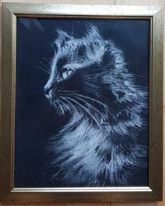 Original painting of a black cat for sale in online gallery. Framed painting ready to hang. Browse a huge variety of art for sale here