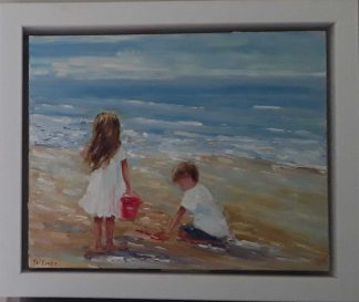 Original painting of two children playing on the beach. Art for sale in online gallery. Gift ideas for children, grandchildren, grandparents
