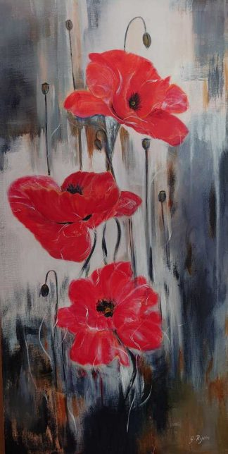 Original painting of poppies for sale in online gallery by Irish artist. Stunning art for your home or great gift idea