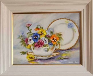 Original floral art for sale in online gallery. Flowers in a teacup. Stunning art for your home or wonderful gift idea for any occasion