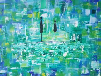 Original abstract figurative art with blue green and yellow colours with two silhouettes. Beautiful art for your home