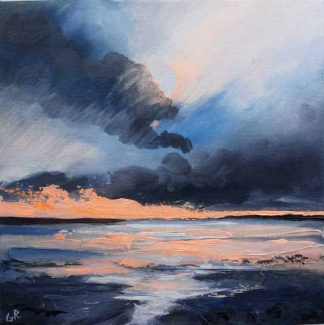 Original painting of the sun setting over the sea. Beautiful art for your home or a great gift idea for any occasion