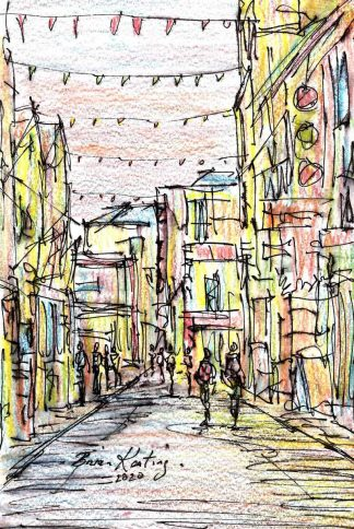 Original ink drawing of Temple bar in Dublin. Irish art by Irish artist. Perfect size to fit into that 'empty space' in your home