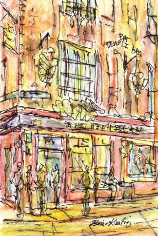 Original ink drawing of Temple bar pub in Dublin. Irish art by Irish artist. Perfect size to fit into that 'empty space' in your home