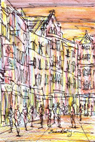 Original ink drawing of Grafton Street in Dublin. Irish art by Irish artist. Perfect size to fit into that 'empty space' in your home