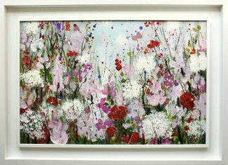 A Fragrant Summer, original floral art, Irish artists, flowers, pink, birthday gift, contemporary flower painting, large painting