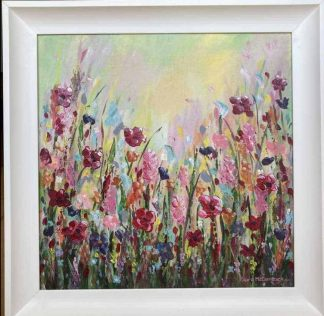 Original floral painting for sale in online gallery by Irish artist. Stunning bright fresh art for your home or gift idea for someone special
